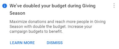 budget notification